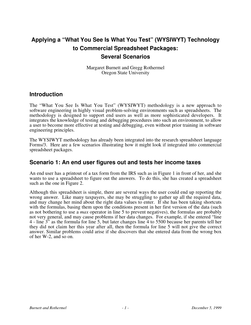 "Spreadsheet Packages For Pdf Applying A ""what You See Is What You Test"" Wysiwyt Technology"