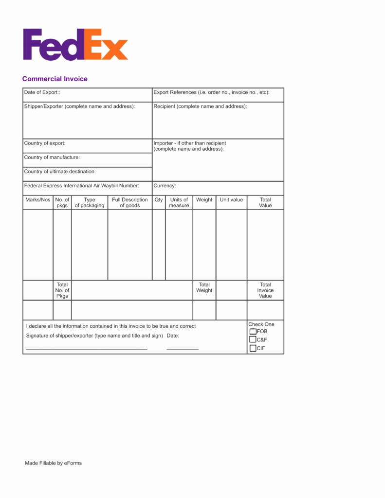 Spreadsheet Pdf Download Throughout Download Commercial Invoice Fedex Express Pdf Fillable Invoice