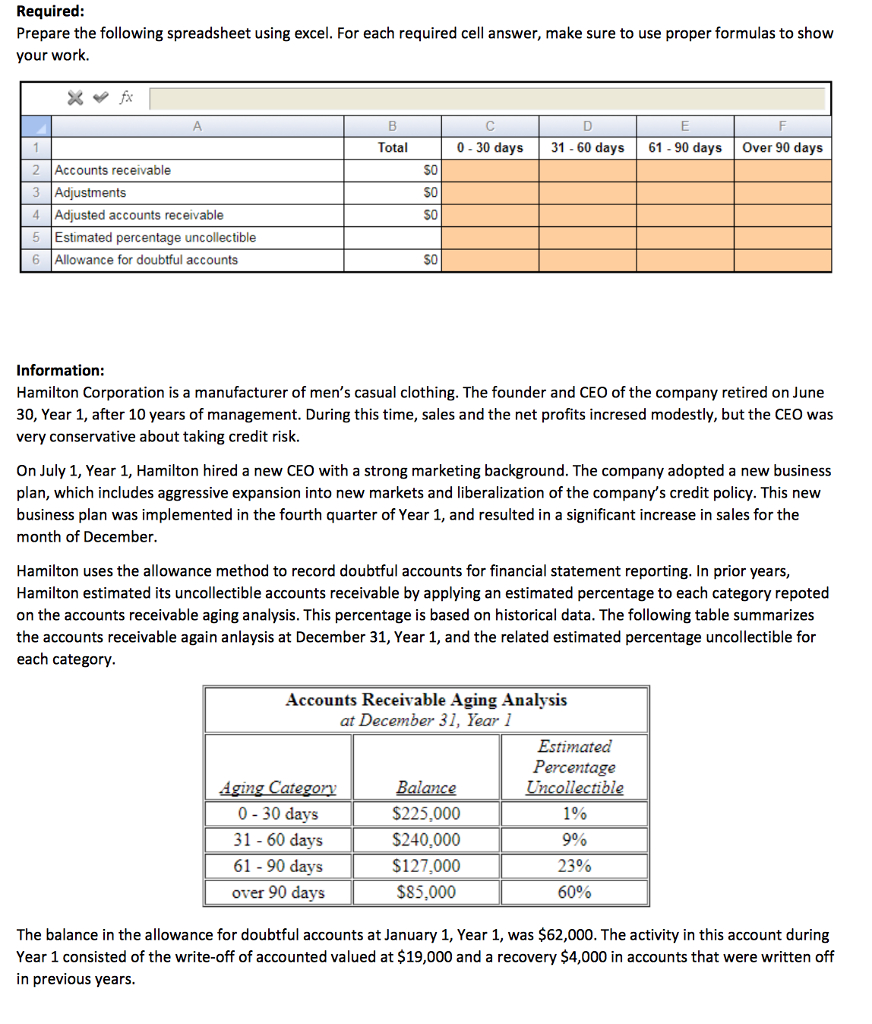 Spreadsheet Percentage In Solved: Required: Prepare The Following Spreadsheet Using