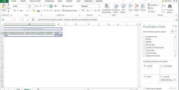 Spreadsheet Pivot Table For Using Our Pivottables  Hesa