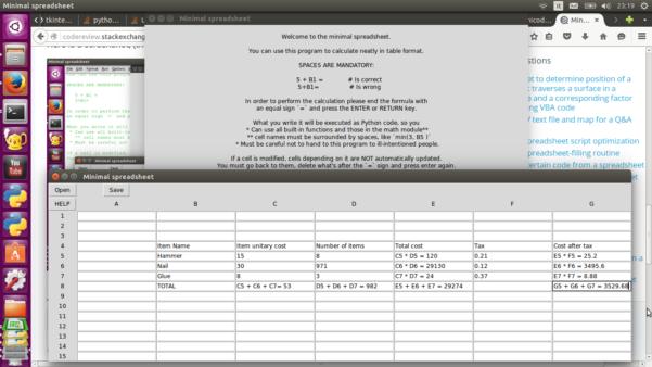 Spreadsheet Program Pertaining To Python  Minimal Spreadsheet Program  Code Review Stack Exchange