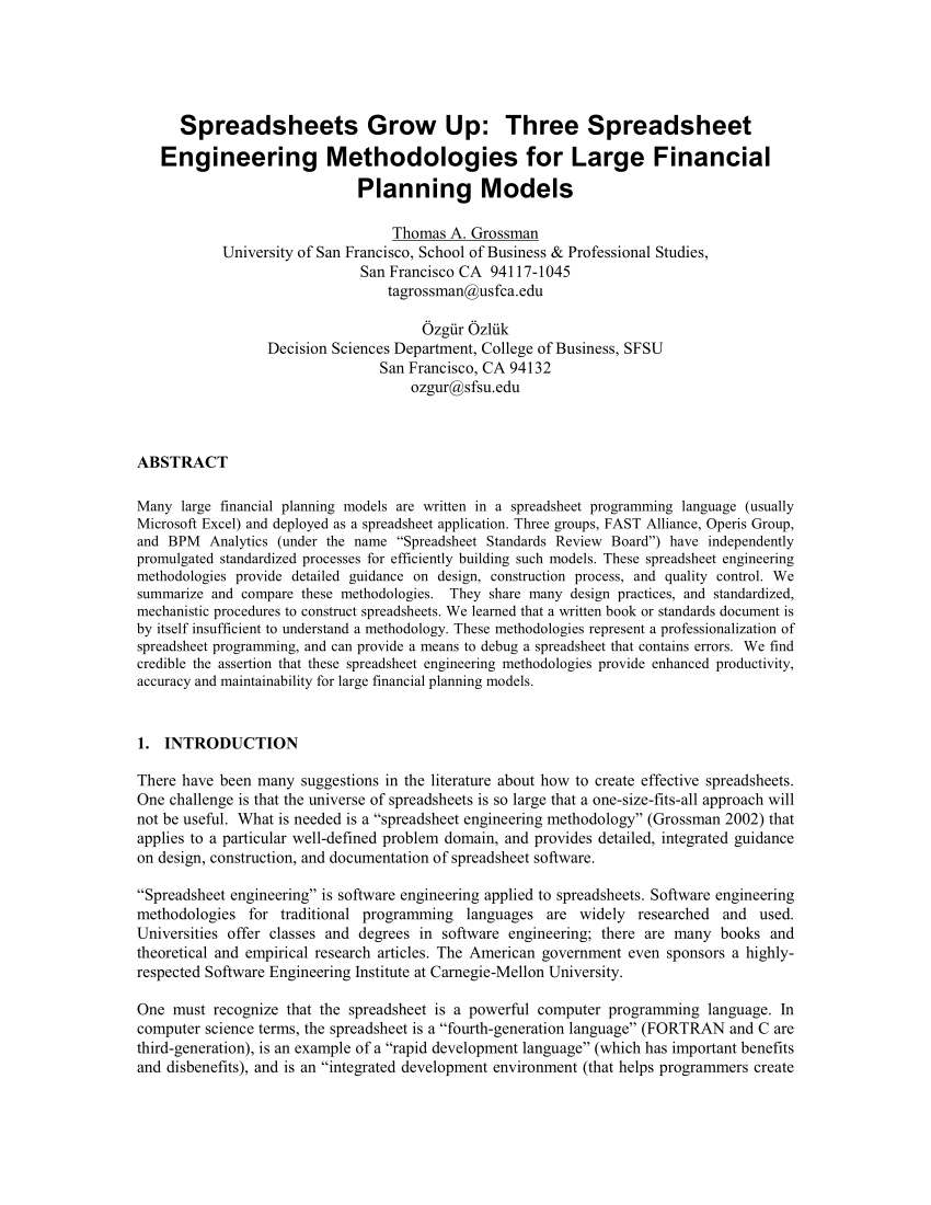 Spreadsheet Programming Regarding Pdf Spreadsheets Grow Up: Three Spreadsheet Engineering