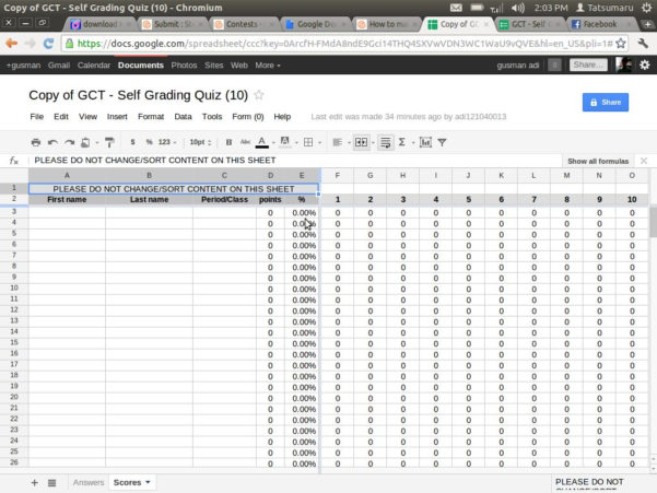Spreadsheet Quiz Throughout Self Grading Quiz With Google Docs: 7 Steps With Pictures