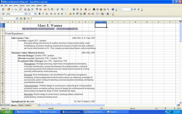 Spreadsheet Resume Intended For Resume Spreadsheet  Aljererlotgd