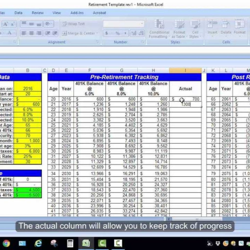 Spreadsheet Retirement Planning Intended For Excel Retirement Spreadsheet Calculation  Youtube With Retirement