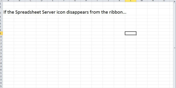 Spreadsheet Server In Spreadsheet Server Ribbon Disappearing