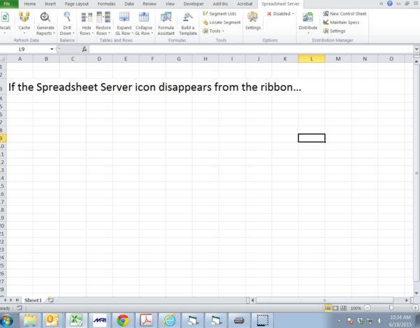 Spreadsheet Server Installation Pertaining To Spreadsheet Server Ribbon Disappearing