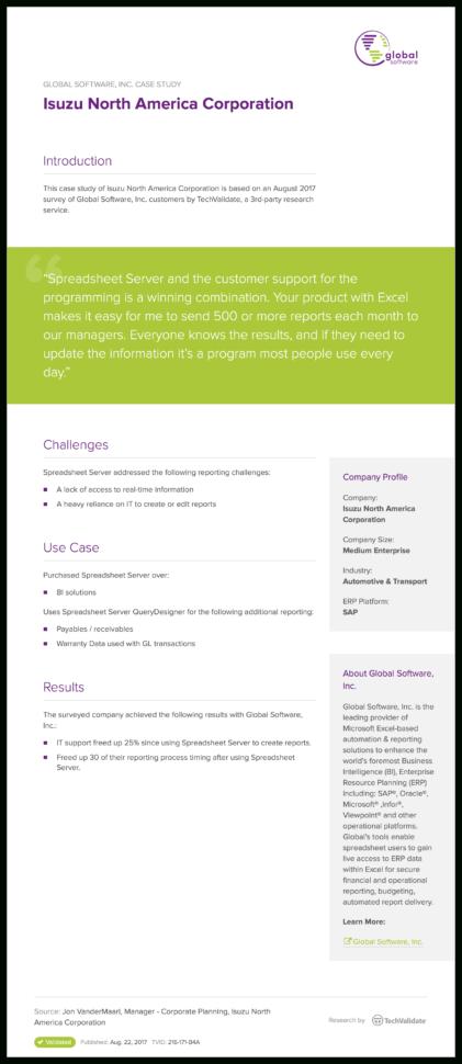 Spreadsheet Server Support Within Insightsoftware Isuzu North America Corporation  Techvalidate
