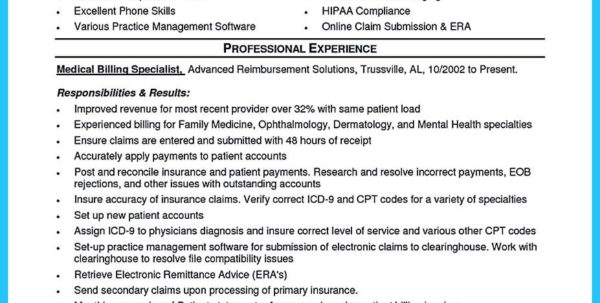 Spreadsheet Specialist Job Description In Sample Resume For Medical Billing Specialist Some People Are Trying