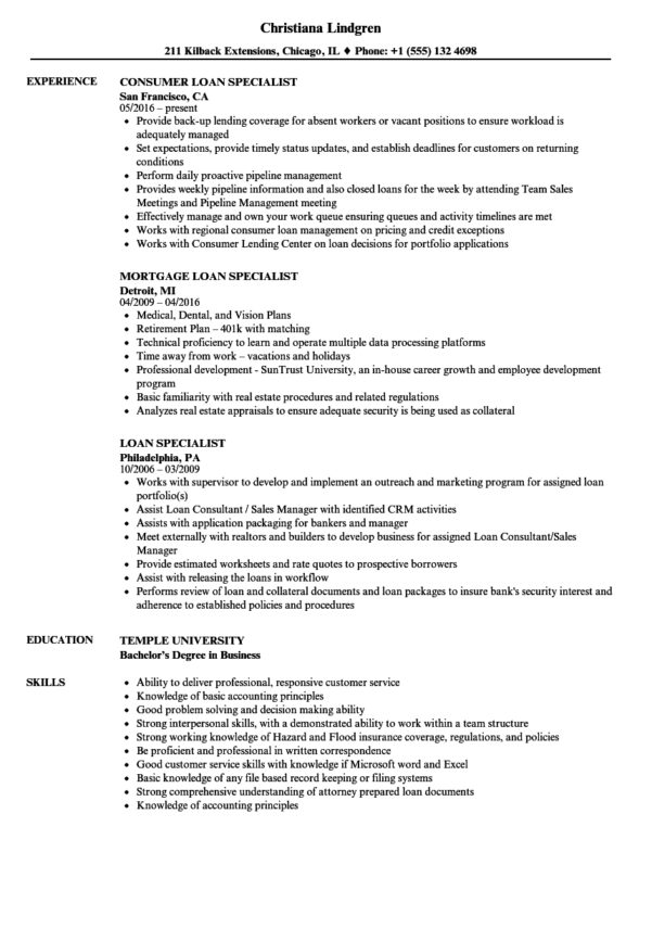 Spreadsheet Specialist Job Description Inside Loan Specialist Resume Samples  Velvet Jobs