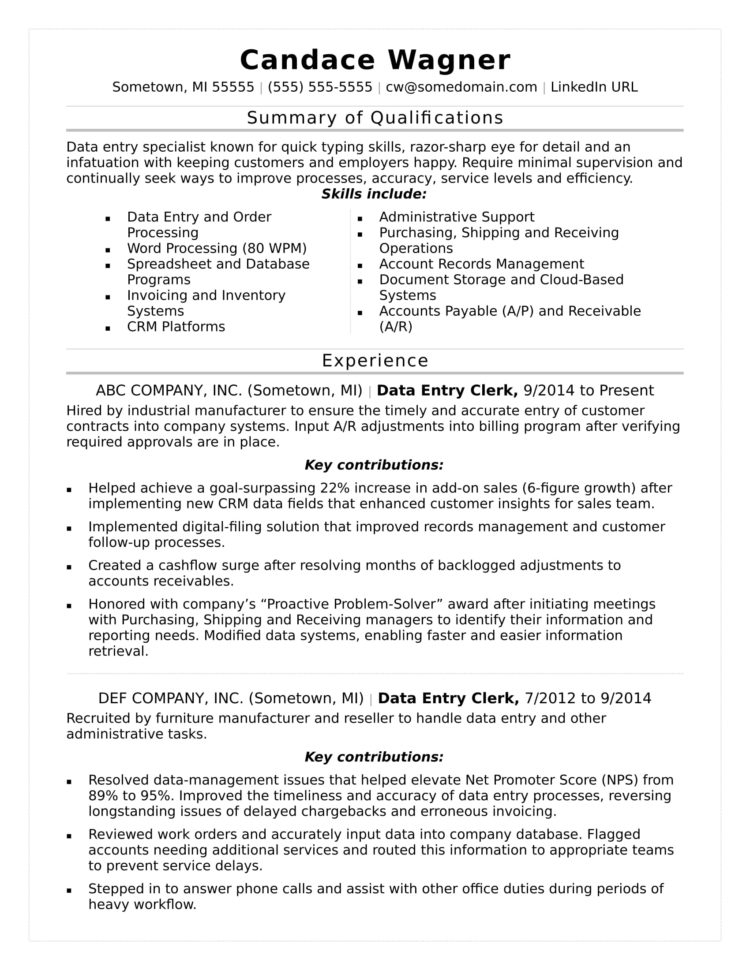 Spreadsheet Specialist Job Description Intended For Data Entry Resume Sample  Monster