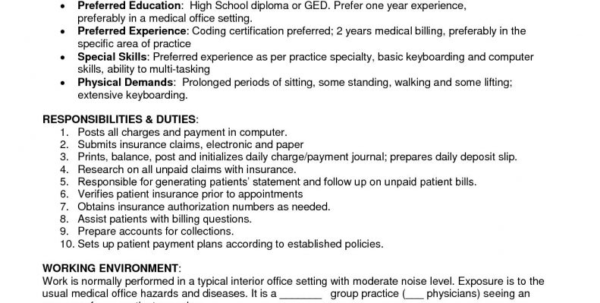 Spreadsheet Specialist Job Description Regarding Sample Resume For Medical Billing Specialist Job Description Free