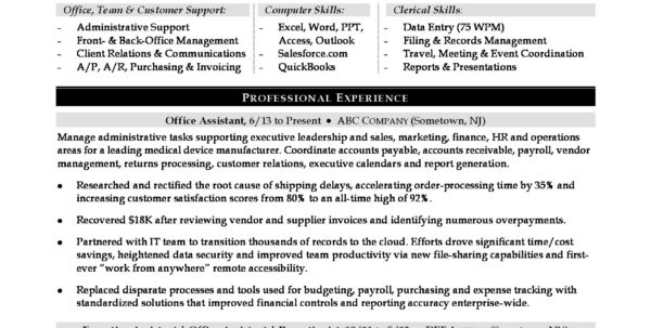 Spreadsheet Specialist Job Description Throughout Office Assistant Sample Resume  Monster