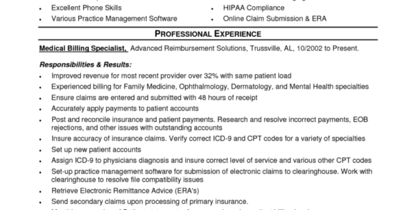 Spreadsheet Specialist Job Description With Medical Billing And Coding Job Description Sample And Medical Coding