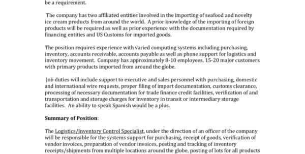 Spreadsheet Specialist Job Description Within Jobdescriptionlogistics Inventorycontrol