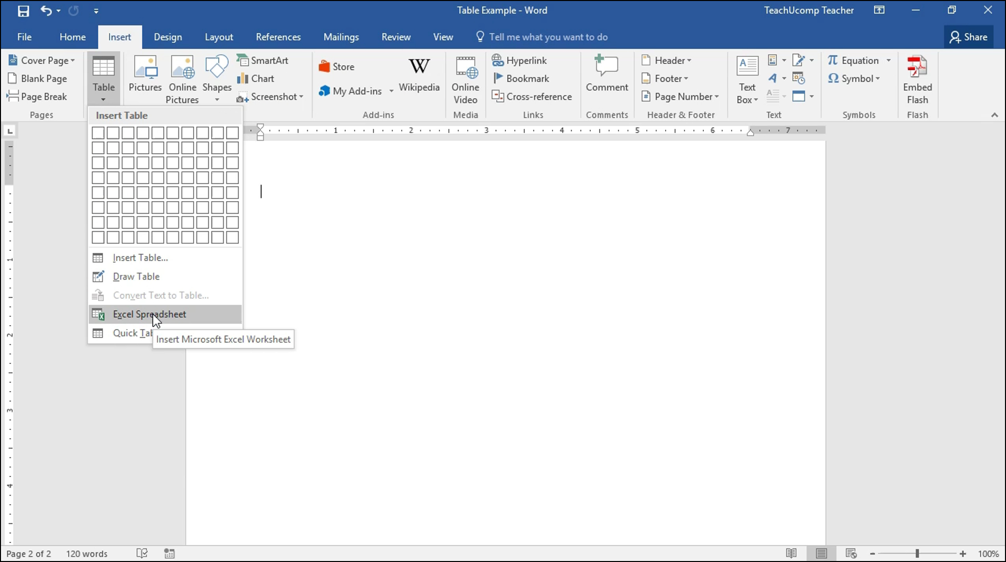 Spreadsheet Table For Insert An Excel Worksheet Into A Word Document  Tutorial