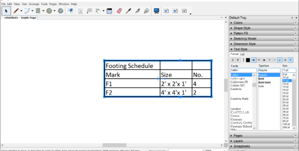 Spreadsheet Table With Regard To Adding Tables To A Document  Sketchup Help Spreadsheet Table Google Spreadsheet