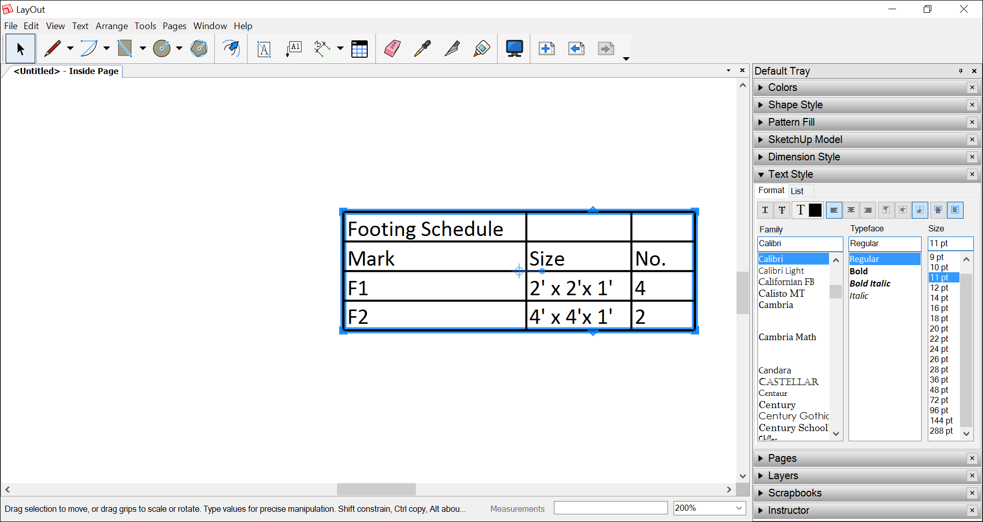 Spreadsheet Table With Regard To Adding Tables To A Document  Sketchup Help