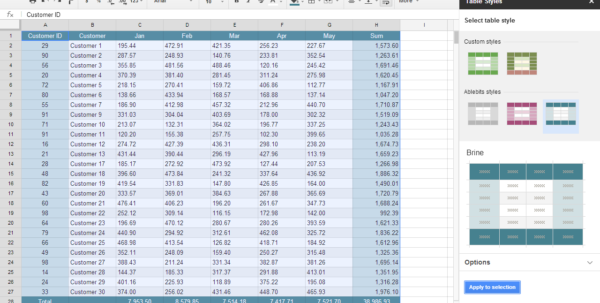 Spreadsheet Table Within Table Styles Addon For Google Sheets Spreadsheet Table Google Spreadsheet