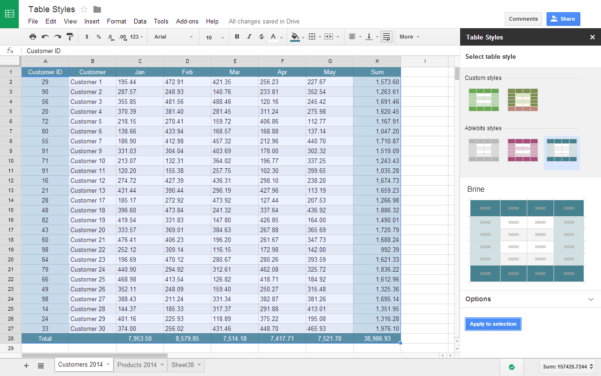 Spreadsheet Table Within Table Styles Addon For Google Sheets