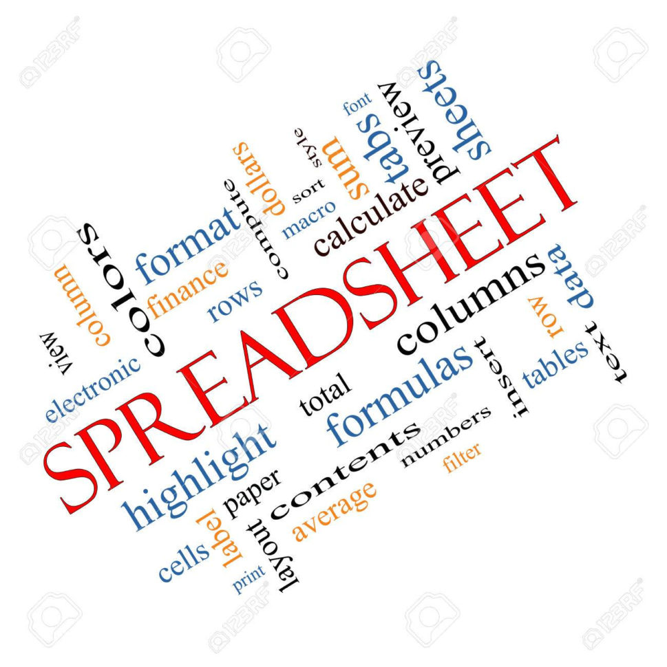 Spreadsheet Terms In Spreadsheet Word Cloud Concept Angled With Great Terms Such As