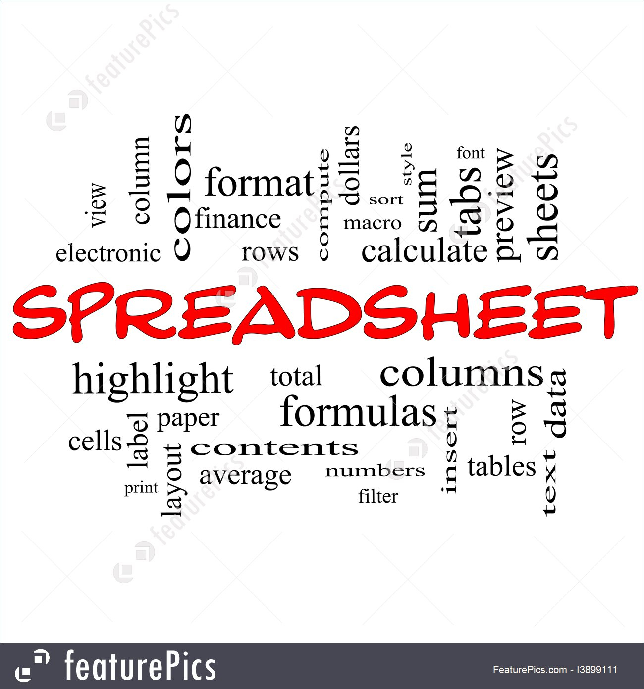 Spreadsheet Terms Pertaining To Signs And Info: Spreadsheet Words  Stock Illustration I3899111 At