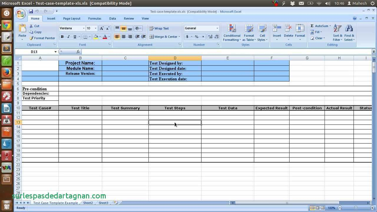 Spreadsheet Test Regarding Sample Test Case Template Inspirational Of Software Report Excel