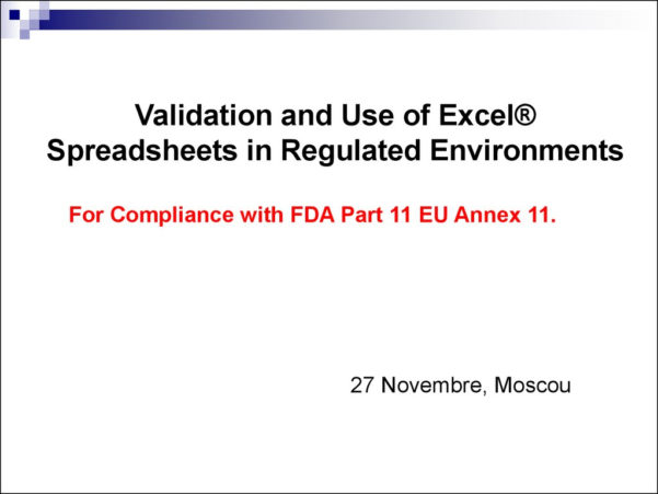 Spreadsheet Validation Fda Regarding Validation And Use Of Exce Spreadsheets In Regulated Environments