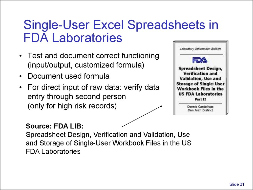 Spreadsheet Validation Fda Throughout Validation And Use Of Exce Spreadsheets In Regulated Environments