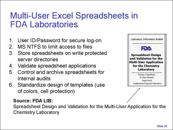 Spreadsheet Validation Fda With Validation And Use Of Exce Spreadsheets In Regulated Environments