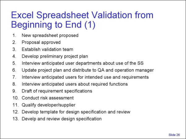 Spreadsheet Validation Throughout Validation And Use Of Exce Spreadsheets In Regulated Environments