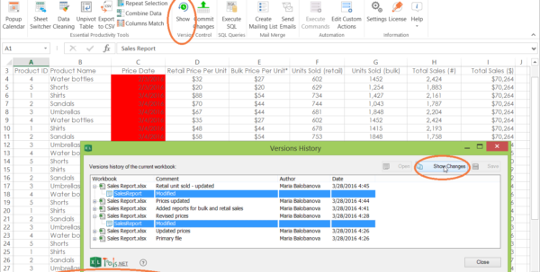 Spreadsheet Version Control Pertaining To Version Control For Excel Spreadsheets  Xltools – Excel Addins You