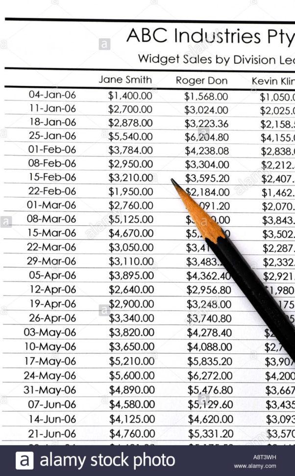 Spreadsheet Widget With Regard To Spreadsheet Widget Salesdivision Leaders Stock Photo: 12168988