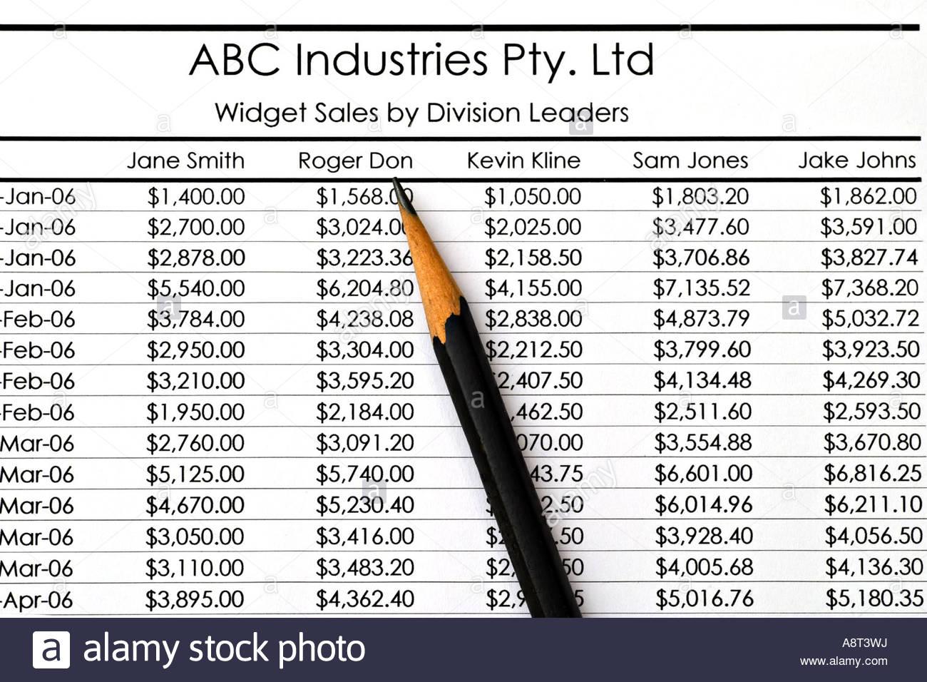 Spreadsheet Widget Within Spreadsheet Widget Salesdivision Leaders Stock Photo: 12168989