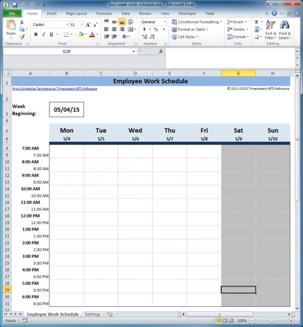Spreadsheet Work Schedule Template Intended For Free Employee Training Schedule Template Excel Scheduling