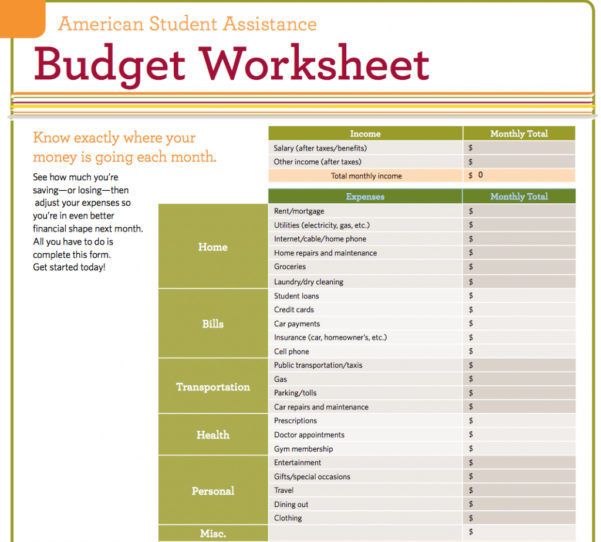 Spreadsheet Worksheets For Students For Student Budget Spreadsheet Template Monthly Loan Weekly