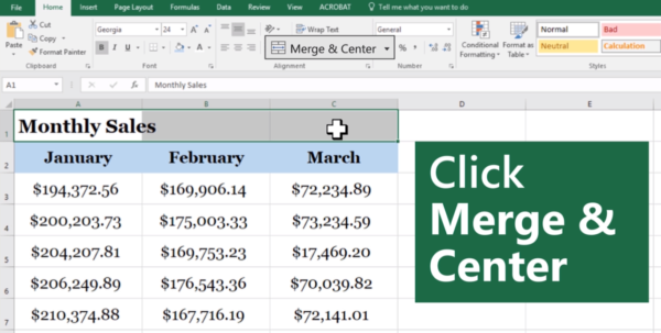 Spreadsheets For Beginners Within How To Merge Cells In Excel For Beginners Update: January 2019