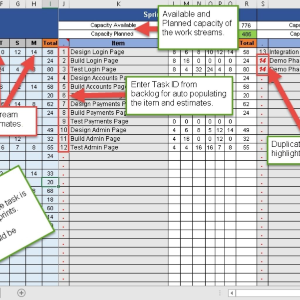 Sprint Planning Spreadsheet Inside Sprint Capacity Planning Excel Template Free Download  Free Inside