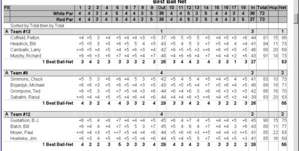 Stableford Golf Scoring Spreadsheet Pertaining To Golfsoftware  Golf Tournament Software