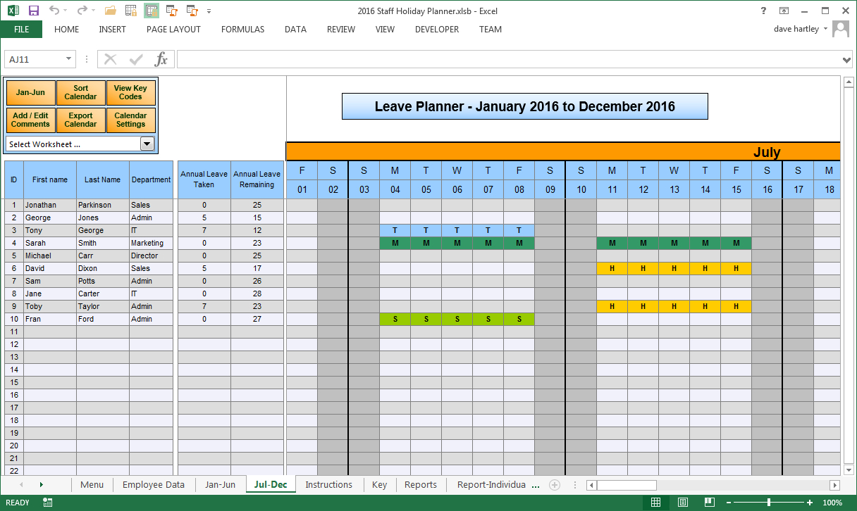 Staff Holiday Spreadsheet Throughout 2014 Staff Holiday Planner: Manage Staff Holiday Throughout 2014