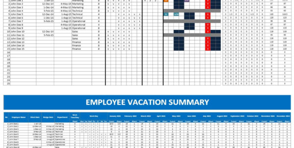 Staff Holiday Spreadsheet Throughout Employee Vacation Planner