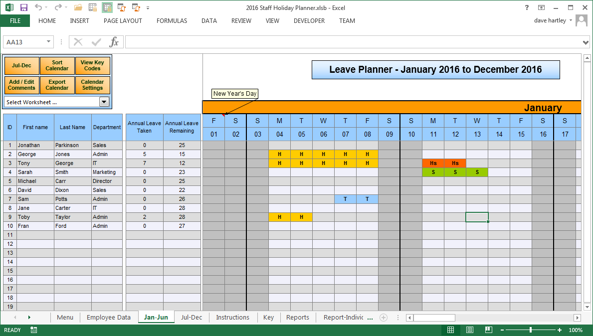 Staff Holiday Spreadsheet With The Staff Leave Calendar. A Simple Excel Planner To Manage Staff