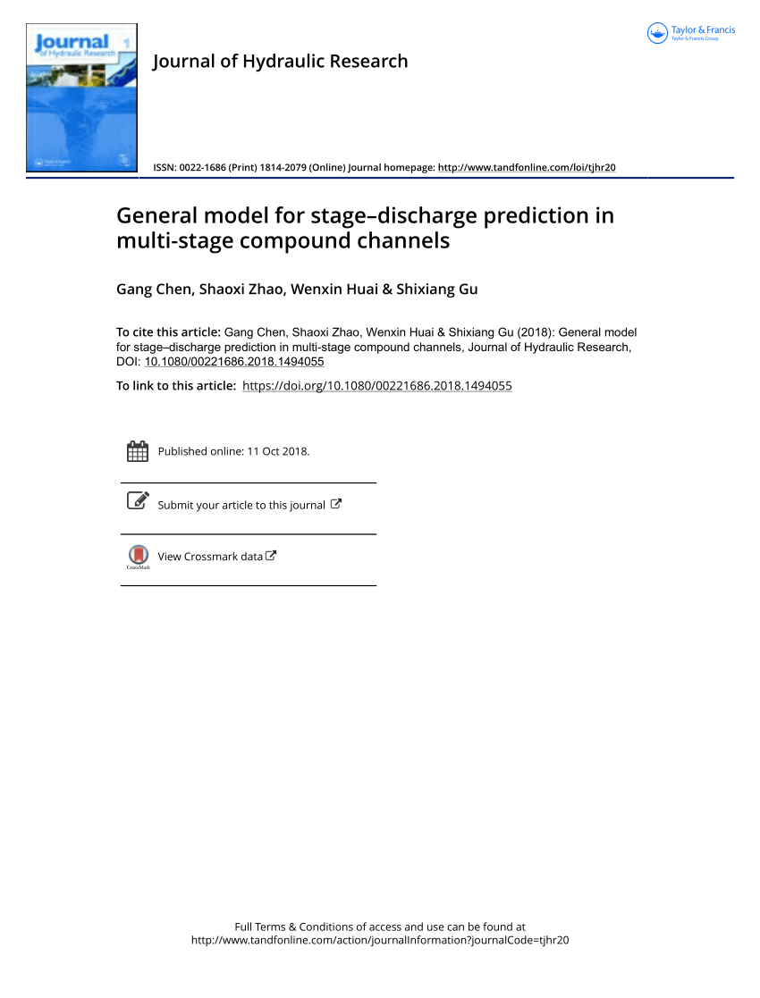 Stage Storage Discharge Spreadsheet Within Pdf General Model For Stage–Discharge Prediction In Multistage