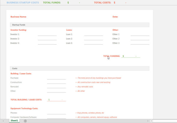 Startup Costs Spreadsheet Within Free Business Startup Expenses Spreadsheet