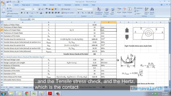 Steel Beam Design Spreadsheet Pertaining To Pad Eye Design Spreadsheet Www Thenavalarch Com Youtube Steel Beam