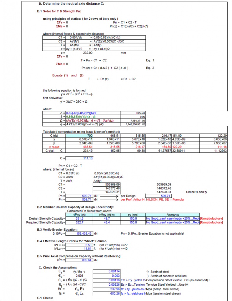 Steel Beam Design Spreadsheet Regarding Formwork Design Spreadsheet Invoice Template  Bardwellparkphysiotherapy