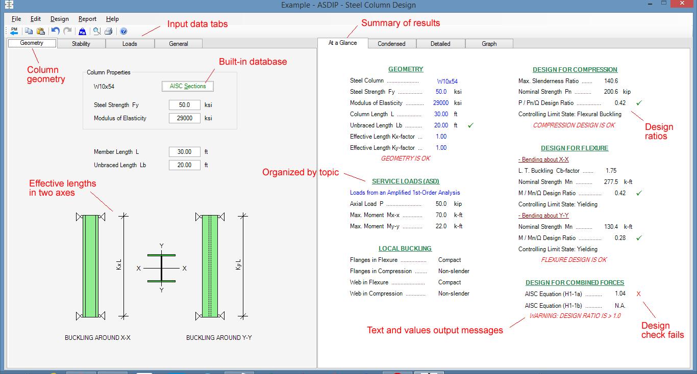 Steel Column Design Spreadsheet Throughout Steel Beam, Column, Plate, Anchor, Connection Software  Asdip Steel