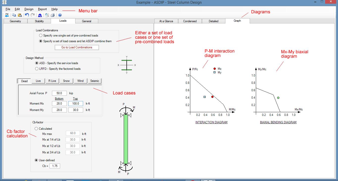 Steel Column Design Spreadsheet With Steel Beam, Column, Plate, Anchor, Connection Software  Asdip Steel