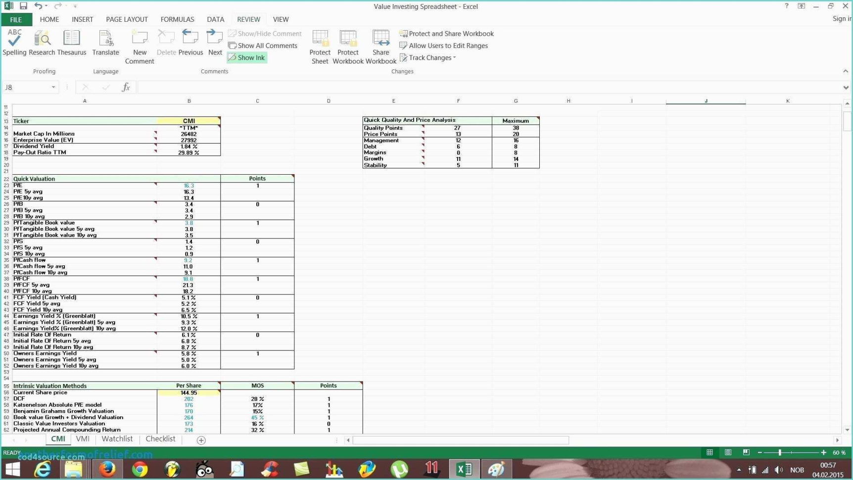 stock analysis spreadsheet excel template in valuation