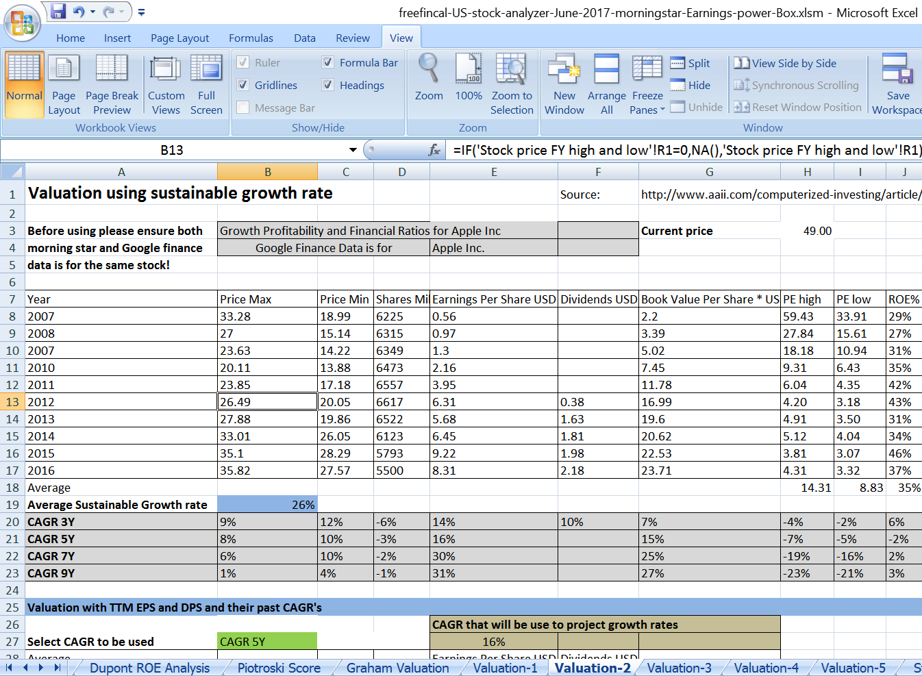 Stock Analysis Spreadsheet Pertaining To Stock Analysis Spreadsheet For U.s. Stocks: Free Download